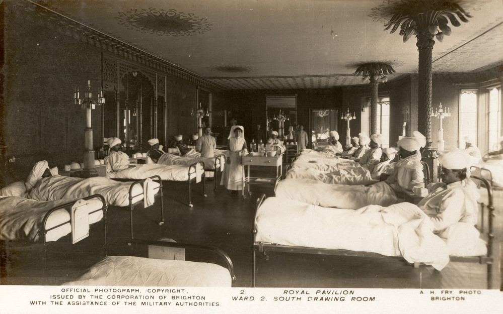 South Drawing Room (now Banqueting Room gallery) of Royal Pavilion as Indian hospital ward, 1915