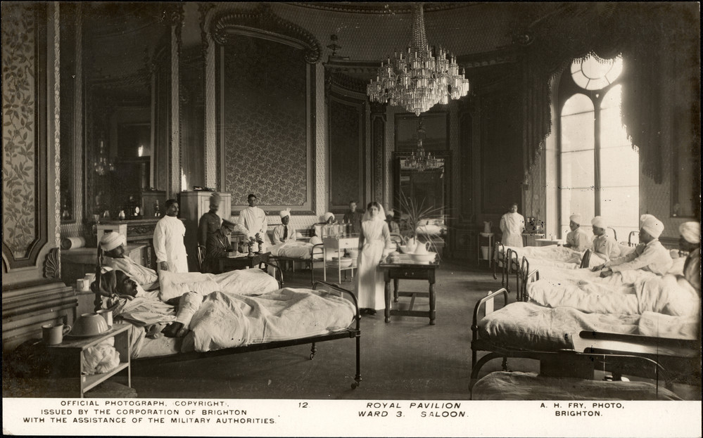 Saloon of Royal Pavilion as Indian hospital ward, 1915