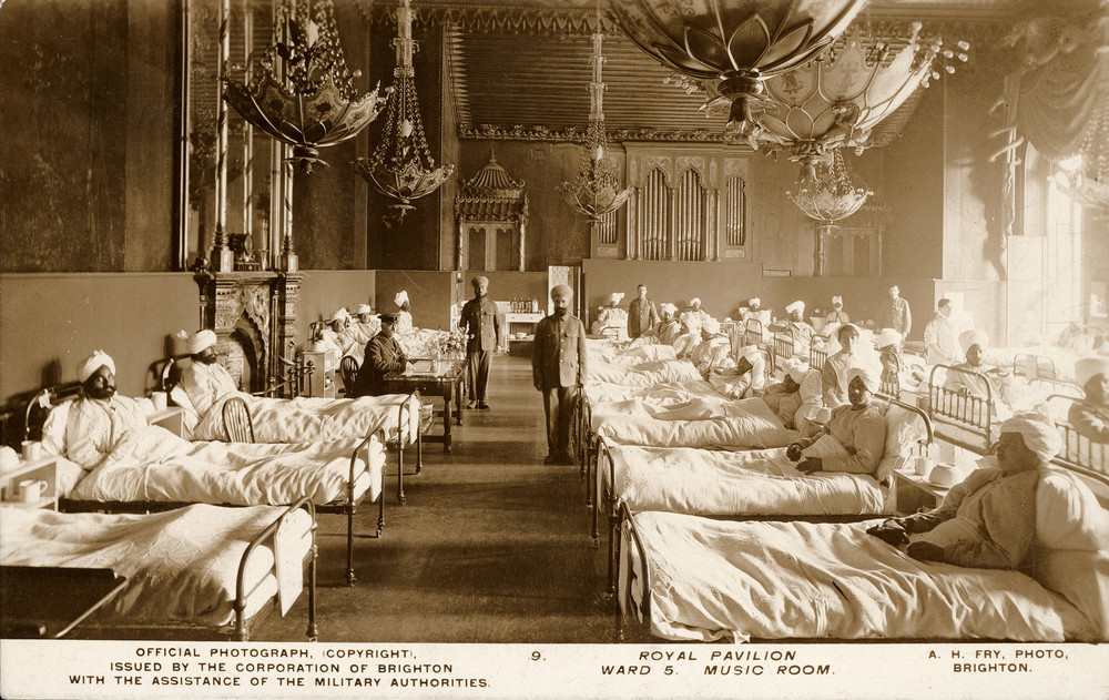Music Room of Royal Pavilion as Indian hospital ward, 1915